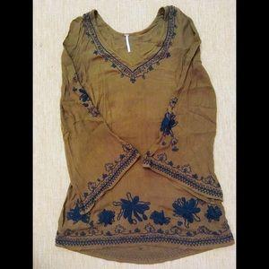 Free People Boho Olive bell sleeve Peasant Dress